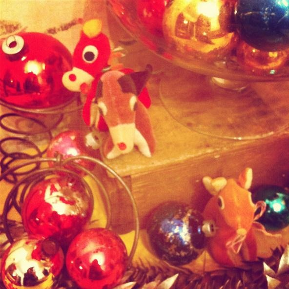 vintage baubles and japanese toys... holiday decor