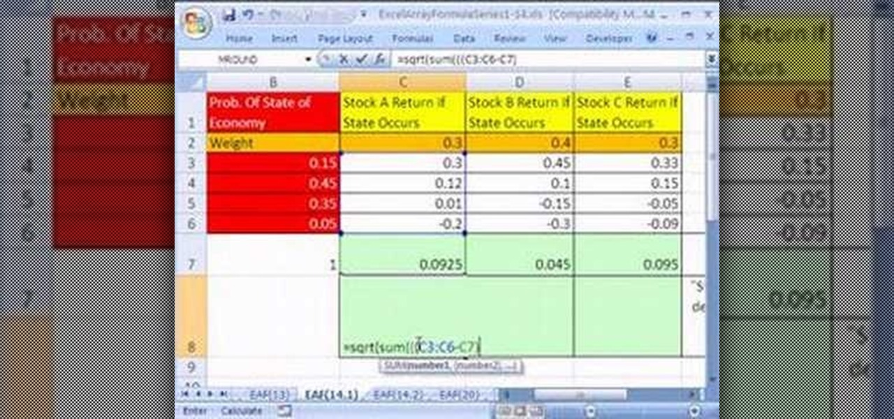 how to create array formulas for stock returns in ms excel