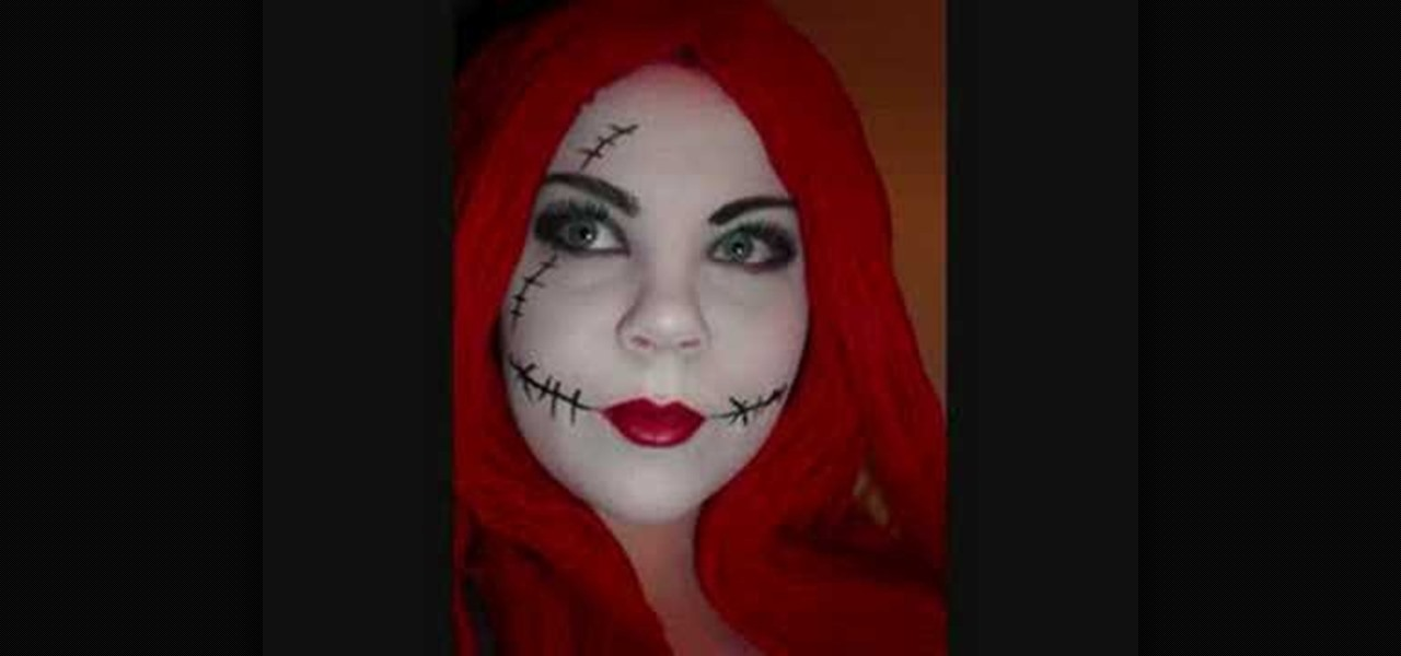 how to do makeup for a sally the ragdoll costume from the nightmare before christmas halloween ideas wonderhowto - Sally Nightmare Before Christmas Makeup