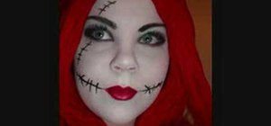Do makeup for a Sally the ragdoll costume from The Nightmare Before Christmas