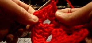 Make a left handed granny square using double crochet