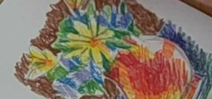Draw a vase with flowers using a colored pencil
