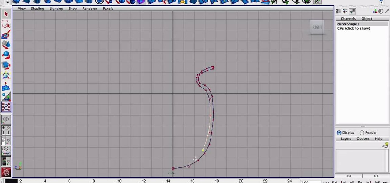 how to model an object using the cv curve tool in maya