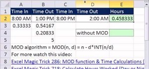 Calculate hours worked in a shift with a lunchbreak in Microsoft Excel 2010