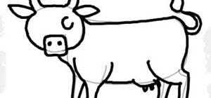 Draw a cartoon cow