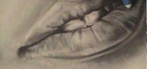 Draw realistic lips and teeth