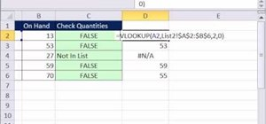 Check whether quantities are equal in two lists in Microsoft Excel 2010