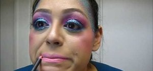 Create a sparkly pink and blue mermaid Halloween makeup look