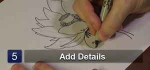 Draw a lotus blossom