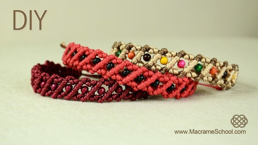 Striped Macrame Bracelet with Beads