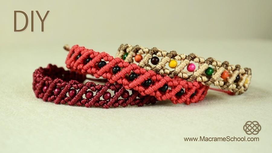 Striped Macrame Bracelet with Beads