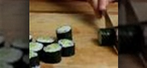 Make vegetarian sushi with cucumber and avocado