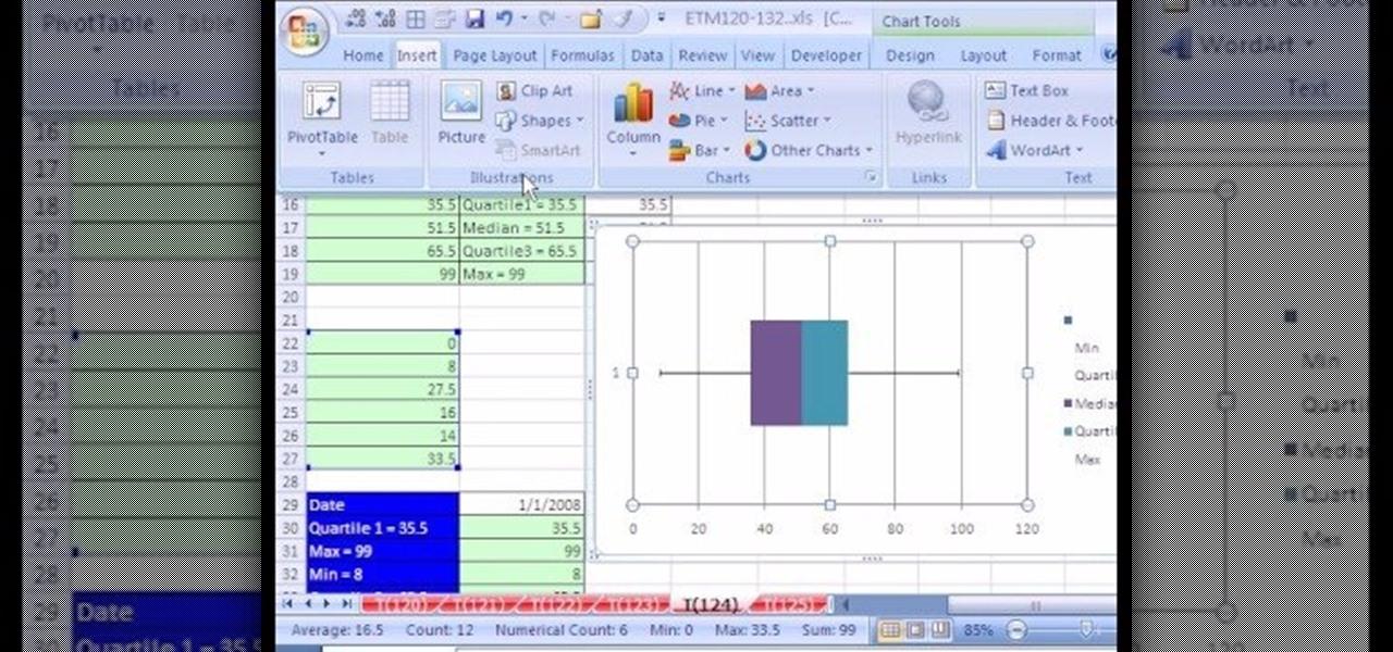 tornado diagram - box plot in excel
