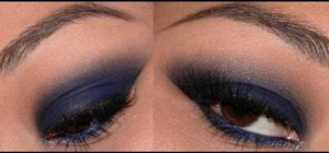 Apply smokey blue eye makeup with a dash of glitter