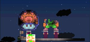 Make Luigi from Super Mario Bros in Terraria pixel art