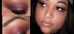 Apply sultry golden burgundy eye makeup