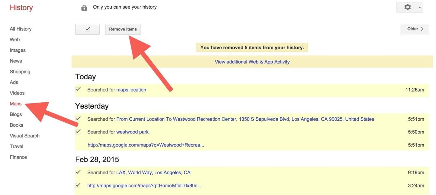 how to remove your google search history