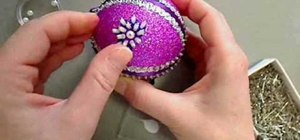 "Craft a purple ""sugar plum"" sequined Christmas ornament"
