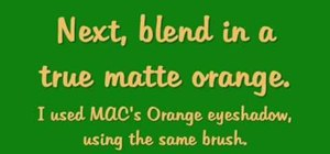 Apply yellow, orange, and green eye makeup