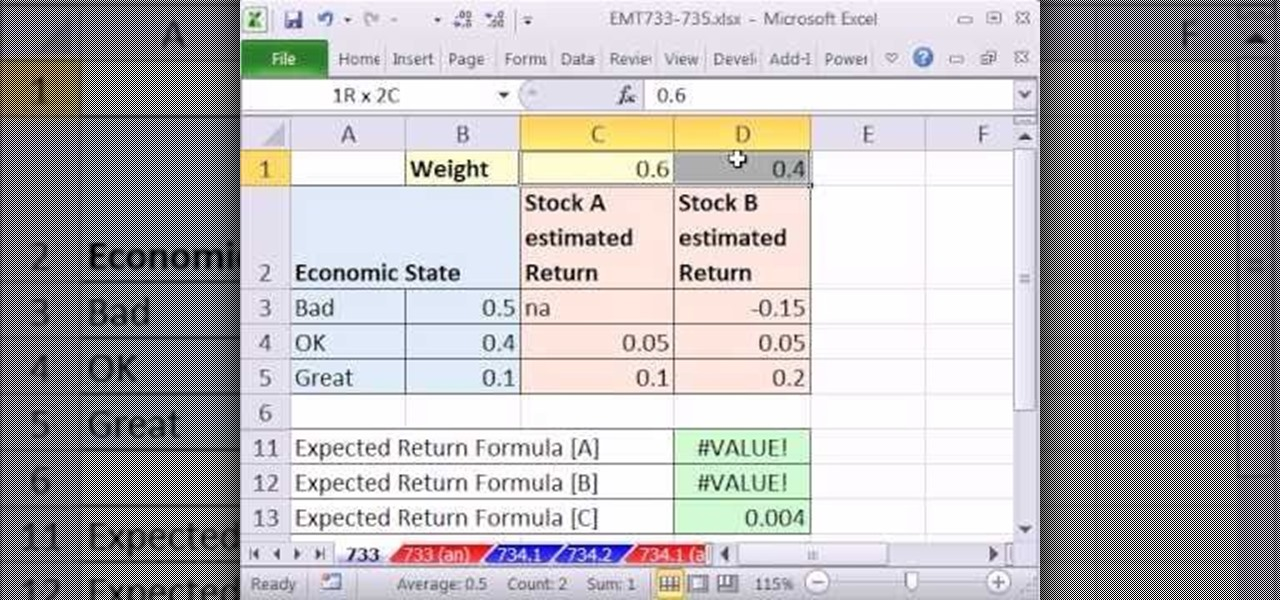 how to calculate expected returns for a portfolio in