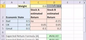 Calculate expected returns for a portfolio in Microsoft Excel