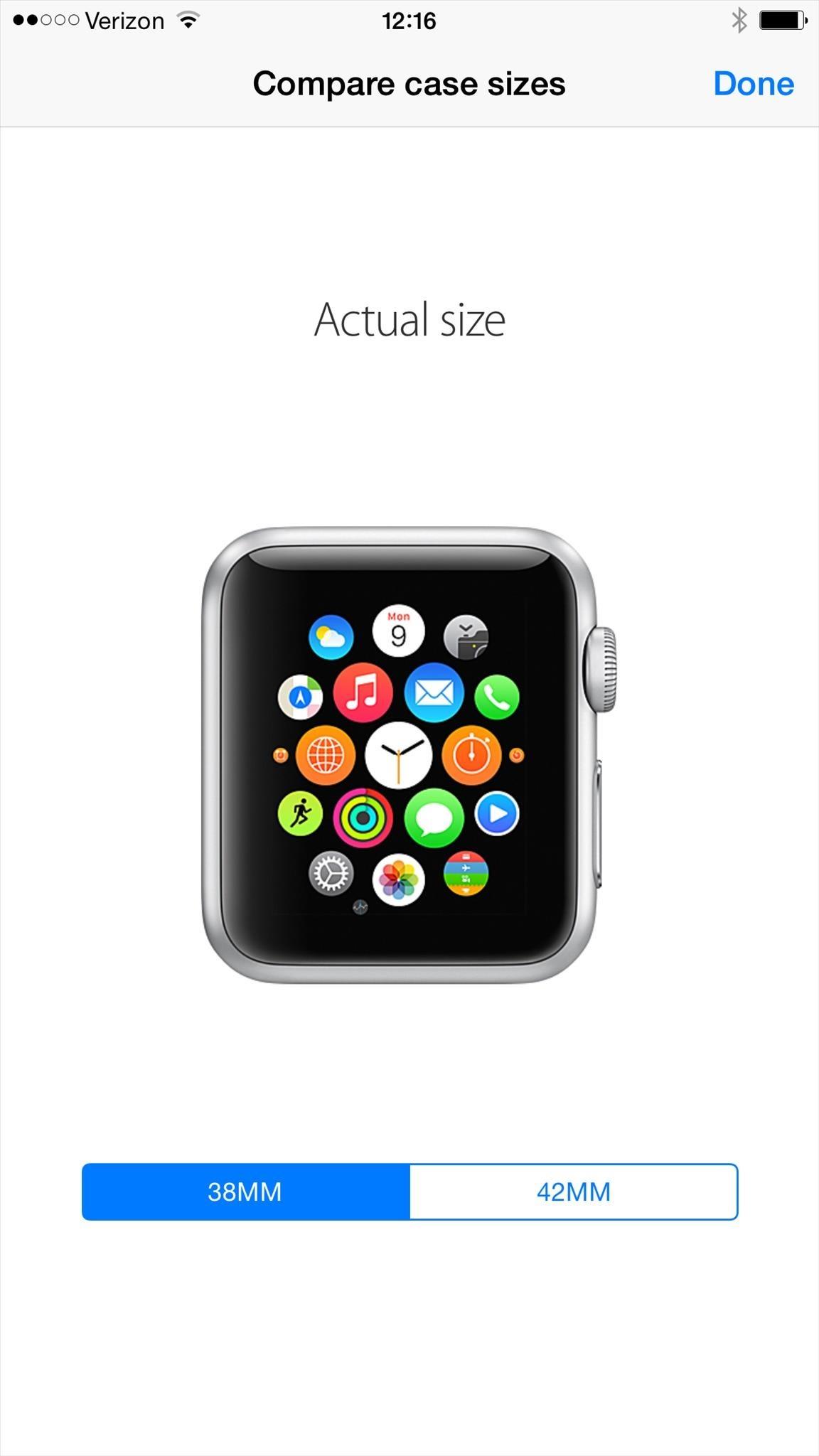 Aktuálnu veľkosť hodiniek si môžete zobraziť na svojom iPhone. K dispozícii  je aj náhľad pre 42 mm verziu. 64241a1c672